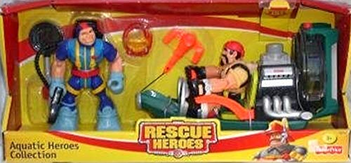 Fisher-Price Rescue Heroes Aquatic Collection Reed Marsh Swamp Skimmer and Gil Gripper