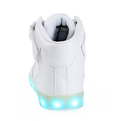 SAGUARO Herren Damen LED Sport Schuhe 7 Farbwechsel USB Leuchtend Sportschuhe Sneaker Turnschuhe Hoch weiß