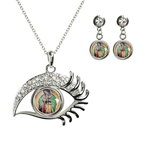 (FQJNS Photo Custom Magic Eye Necklace Pendant Glass Eyelashes Long Chain Sparkle and 2pcs Earing Studs Jewelry Set (Our-Lady-of-Guadalupe Mosaic) )