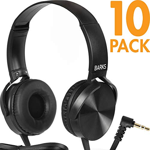 Bulk Classroom Headphones – 10 Pack – Over Ear Student Head Phones: Perfect for Kids in Classrooms, Schools, Libraries, Class Set (Great Value, Durable, Noise Reducing, Comfortable Fit, Easy to Clean)