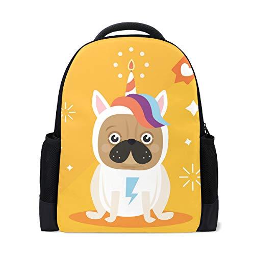 Conelia Original Pug with Unicorn Costume Polyester Backpack School Travel Bag Pug Gifts Pug School Bag Pug -