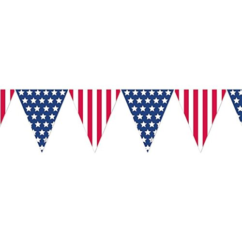Amscan Stars and Stripes Fourth of July Pennant Banner Party Decoration, Plastic, 12'
