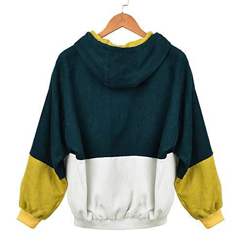 Velluto Bcfuda Patchwork A Donna Giacchetta Con Donna✿felpe Oversize Cappuccio Verde Coat Colore Outwear Coste In Felpe Da x0q0UYwv