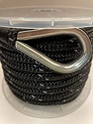 """EMPIRE ROPES Nylon Double Braided 3/8""""X50'Anchor line Marine, Boat, Rigging Rope with Stainless Steel Metal Th"""