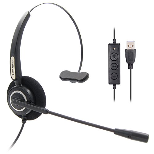 VoiceJoy Office Headset with USB Jack Business Noise Cancelling Headset With Microphone, Volume Control Mute Switch for Laptops PCs Computers