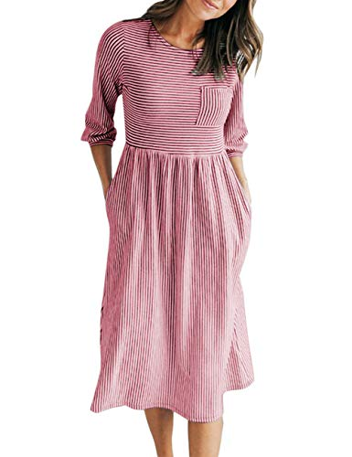 MEROKEETY Women's 3/4 Balloon Sleeve Striped High Waist T Shirt Midi Dress with Pockets Red ()