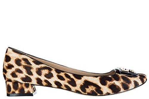 Piel Bailarinas Bailarines Leopard Tory Mujer Burch en Negro xqXH5RZw