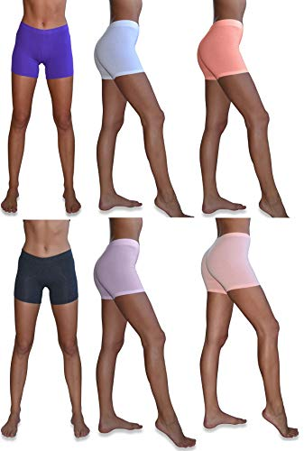 - Sexy Basics Women's 6 Pack Cotton Stretch Light Weight Boyshort Boxer Brief Undershorts (6 Pack- Soft Pastels, Small)