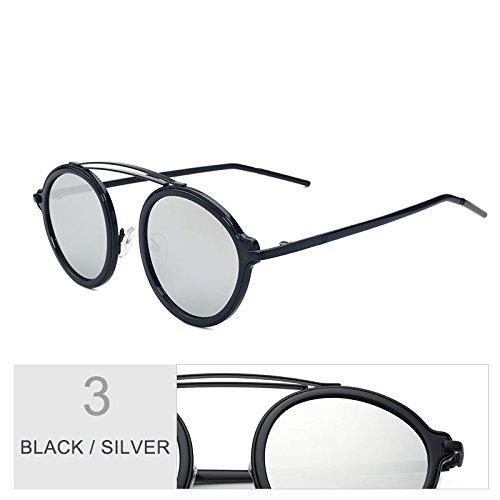 Leopard Brown Black De Parte La De Gafas Trasera Para De Moda Gafas Sol Silver Hermoso La La Placa De Espejo Color Gafas Mujer De TIANLIANG04 Ronda La q4Swxxg