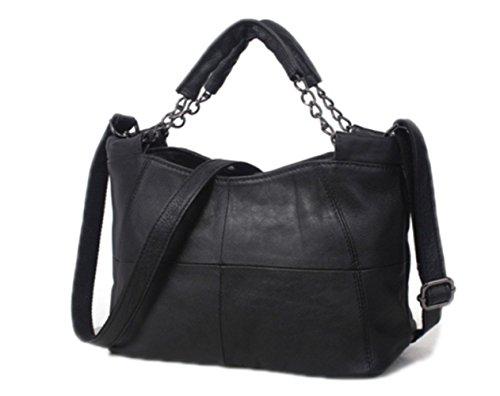 Ladies Bag Handbag Casual Shoulder Bag 2018 ZM Leather Simple New Leather Bag Handbag Soft leather Black Messenger x8wXp5qR