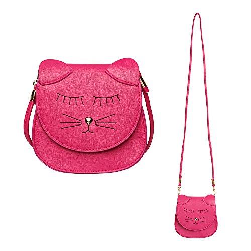 Pinky Family Little Girls Purse Cute Cat Coin Purse Shoulder Bag Handbag Girls Gift (Hot Pink) ()