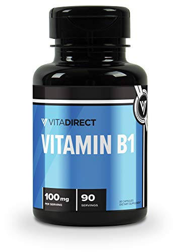 VitaDirect Premium Vitamin B1 100mg, 90 Capsules – High Quality Vitamin B1 Thiamine Supplement