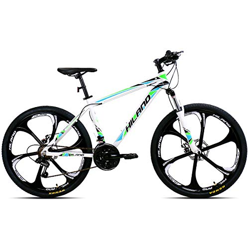 Hiland Mountain Bike 26 Inch Aluminum MTB Bicycle for Men Women Urban Commuter City Bicycle with Disc Brake 17 Inch Frame Kickstand Suspension Fork 6-Spokes White Green