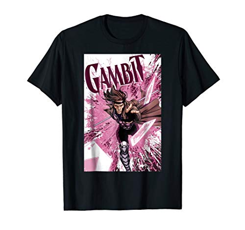 (Marvel X-Men Gambit Pink Cards Explosion Graphic T-Shirt)