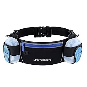 URPOWER Running Belt Multifunctional Zipper Pockets Water Resistant Waist Bag, With 2 Water Bottles Waist Pack for Running Hiking Cycling Climbing. And for iPhone, iPod, Samsung and Other Smartphones