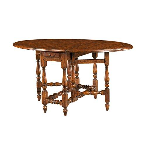 EGA English Antiqued Wood Gateleg Dining Table