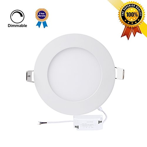 P&B Lighting 12W Dimmable Round LED Panel Light Lamp, Ultra-thin Recessed Ceiling Light, 80W Incandescent Equivalent, 960lm, Neutral White 4000K, Cut Hole 6.1 Inch, Downlight with 110V LED Driver