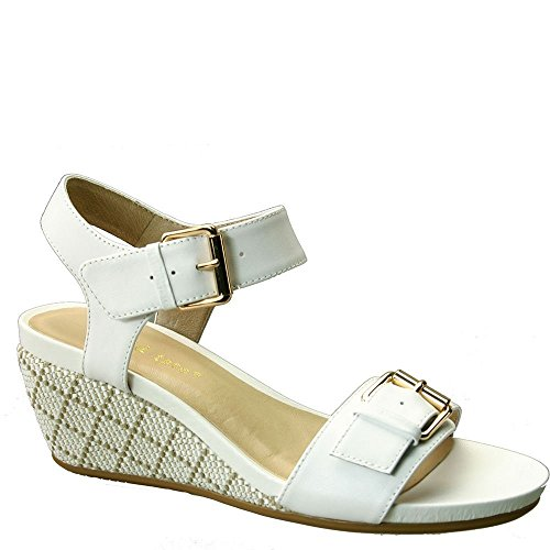 David Tate Women's Touch Wedge Sandal,White Calfskin,US 13 W