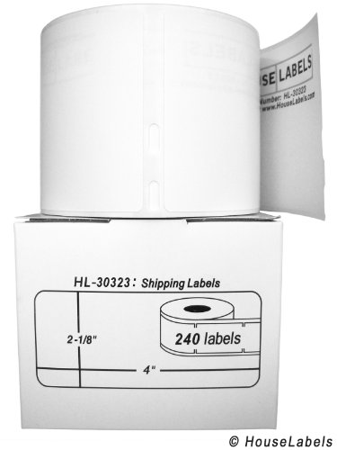 "40 Rolls; 240 Labels per Roll of DYMO-Compatible 30323 (30573) Large Shipping Labels (2-1/8"" x 4"") -- BPA Free!"