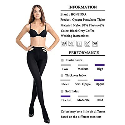 HONENNA Women's Control Top High Elastic Soft Opaque Pantyhose Tights at Women's Clothing store