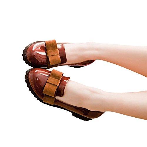 Slip-on In Pelle Scamosciata Con Punta Rotonda In Vernice Dolce, Scarpe Con Tacco Medio, Mocassini Oxford, Scarpe Marrone