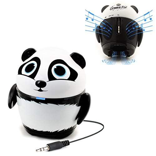 GOgroove Portable Stereo Speaker Music Player with Panda Animal Design & Built-in 3.5mm Cord - Led Upgrade 3 Cell Cord