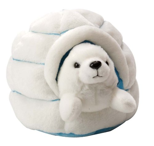 Wild Republic Harp Seal Plush, Stuffed Animal, Plush Toy, Gifts for Kids, W/ Igloo, 6 Inches -