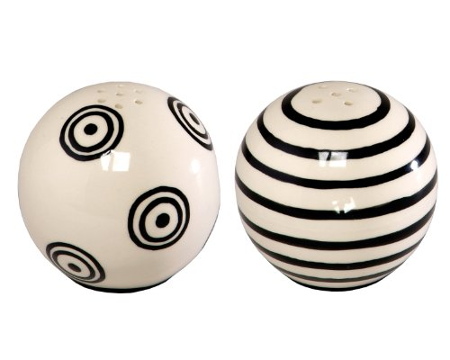 Caffco International M. Bagwell Mix and Match Collection Ceramic Salt and Pepper Shaker, Set of 2, Black and White (And Collection Ceramic Pepper Salt Set Kitchen)