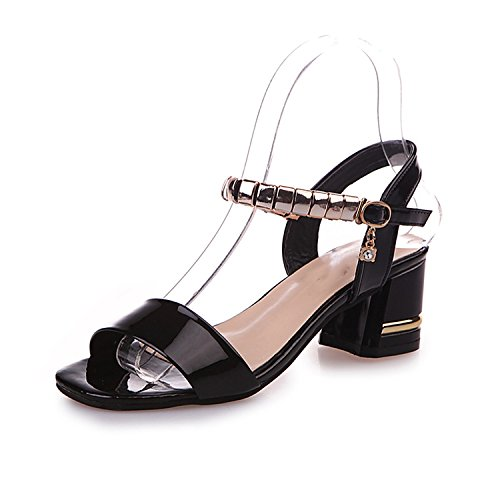 Special-Shop Word Buckle Sandals with fwild Beaded Open-Toed Sandals Tide,Black,38