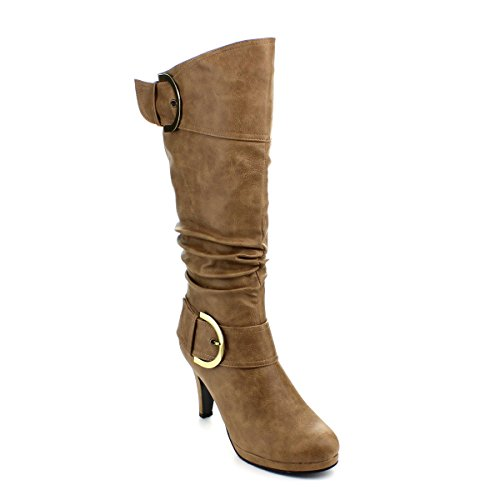 Top Moda Womens Page-22 Knee High Round Toe Buckle Slouched Low Heel Boots Taupe