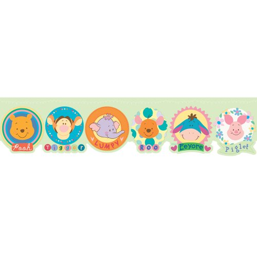 Imperial Disney Home DF059173D Winnie the Pooh and friends Die-cut Border, Pastel Green, 6.83-Inch Wide (Wallpaper Winnie Pooh Disney The Border)