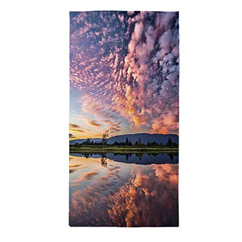 Clouds Printed Tablecloth,Magical Reflection Pink Colored Clouds in Water Mirroring Scenic Weather Activity Picture for Rectangle Table Kitchen Dinning Party,24''W X 48''L