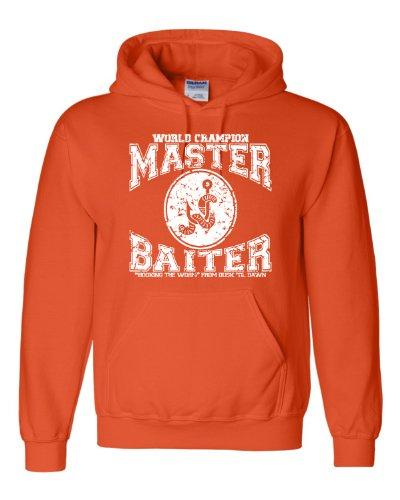 (Large Orange Adult World Champion Master Baiter Fishing Sweatshirt Hoodie)