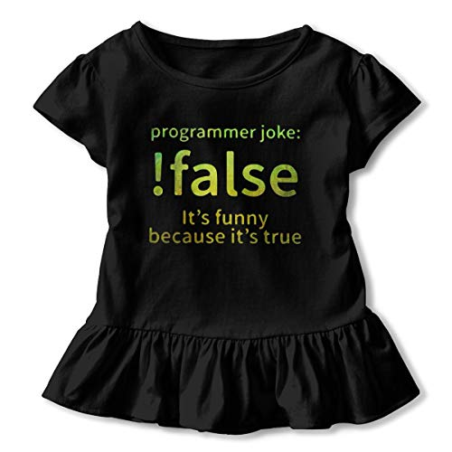 CZnuen False Programmer Joke 2-6T Baby Girls' Cotton Jersey Short Sleeve Ruffle Tee 5/6T Black ()