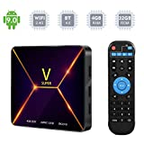 Android 9.0 TV Box, Super V Android Box 4GB DDR3 32GB EMMC Chip RK3318 Quad-core WiFi 2.4Ghz BT4.0 3D 4K USB3.0 Smart TV Box