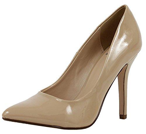 Beige Heel Women's Pointed Pump Dark Patent Closed Dress Soda Stiletto Toe zwx1XdXPn