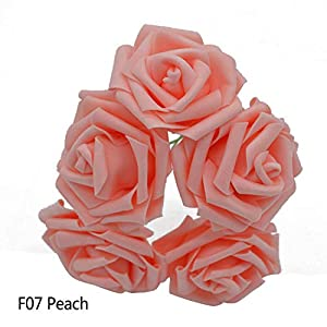 GSD2FF 10 Heads 5 Heads 8CM Artificial Rose Flowers Bridal Bridesmaid Bouquet Wedding Home Decoration Scrapbook DIY Supplies,Peach,5 Heads 18