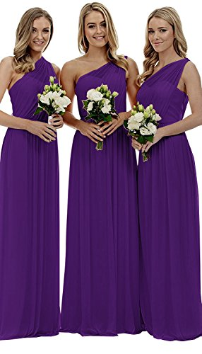 Women's Long One Shoulder Bridesmaid Gown Asymmetric Prom Evening Dress Purple (Bridesmaid Prom Gown)