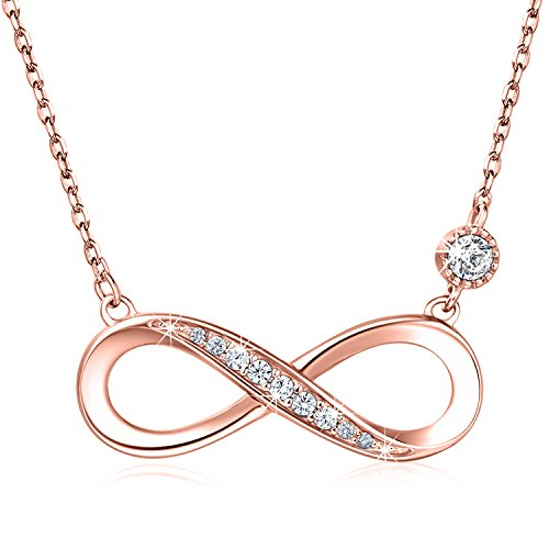 """925 Sterling Silver Necklace – Billie Bijoux """"Forever Love"""" Infinity Heart Love Pendant White Gold Plated Diamond Women Necklace Gift for Valentine's Day (Rose Gold)"""