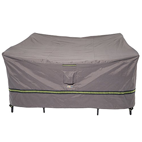 Duck Covers Soteria Rainproof 76 Long Square Patio Table with Chairs Cover