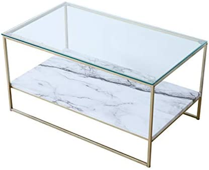 Tilly Lin Faux Marble Coffee Table Glass Top Coffee Table, Cocktail Table with Gold Metal Legs