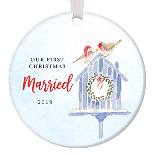 Our First Christmas Married 2019 Tree Ornament 1st Holiday Newlyweds Cute Bird Nesting Couple Bridal Shower Wedding Ceramic Keepsake Present 3