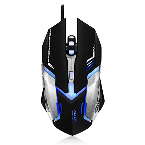Airfox FOX KING - Ergonomic Wired Gaming Mouse - 3,200DPI Sensor, Blue LED - Comfortable Grip Popular Gaming Mouse
