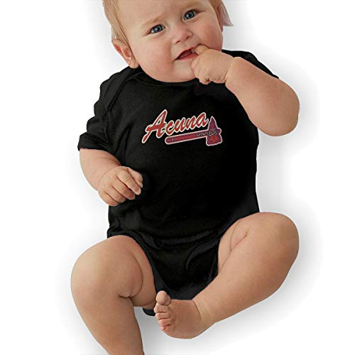 Embroidered Autograph - Unisex Baby Onesie Bodysuit RED Atlanta Acuna Embroidered Short-Sleeve Bodysuit for Boys and Girls