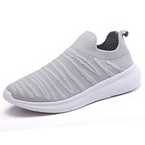 J.LMH Women's Sneakers Slip-on Walking Athletic Tennis Shoes Grey-8
