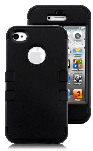 myLife Jet Black - Flat Color Series (3 Piece Protective) Hard and Soft Case for the iPhone 4/4S (4G) 4th Generation Touch Phone (Fitted Front and Back Solid Cover Case + Internal Silicone Gel Rubberized Tough Armor Skin)