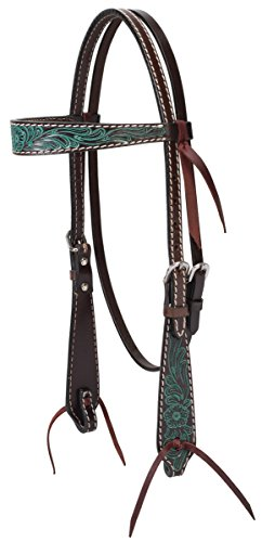 Turquoise Cross Carved Turquoise Flower Brow Band Headstall ()