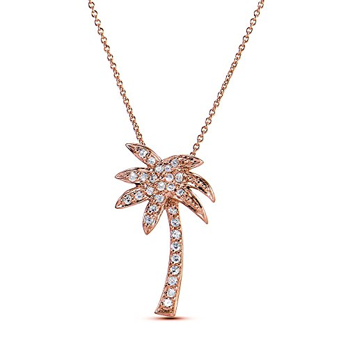 Rose Gold Flashed Cubic Zirconia Palm Tree Necklace with 18 inch - Gold Palm Necklace