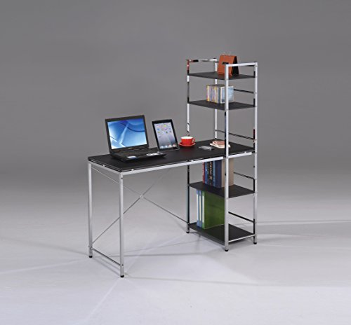 Acme Furniture 92074 Elvis Computer Desk with Shelves, Black & Chrome