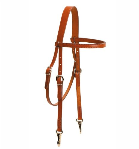 (Tory Leather Brow Band Headstall with Nickel Snap Ends - Dark Oil)
